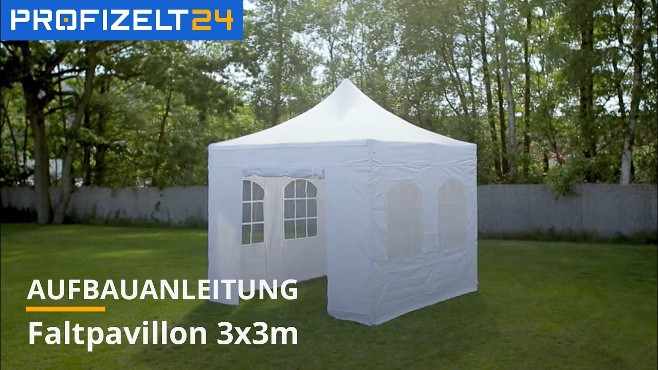 faltzelt faltpavillon partyzelt aufbau 3x3m pavillon zelt premium profizelt24 youtube. Black Bedroom Furniture Sets. Home Design Ideas