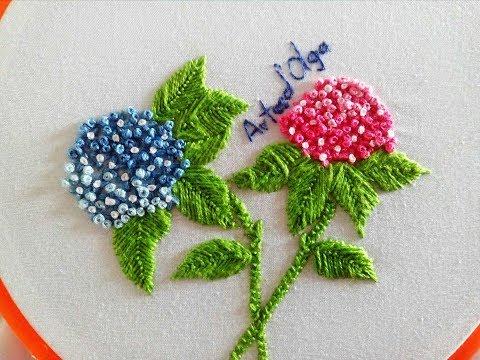 Hydrangea Flower Embroidery  Hortensias Bordadas a Mano  Hand Embroidery Tutorial by ArtesdOlga