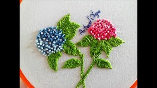 Como bordar a flor Hortência Passo a Passo