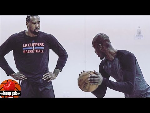 KEVIN GARNETT WORKING ON POST MOVES WITH DEANDRE JORDAN. HoopJab NBA