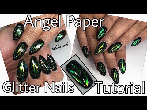 Shattered glass, angel paper, glitter | GEL NAIL TUTORIAL
