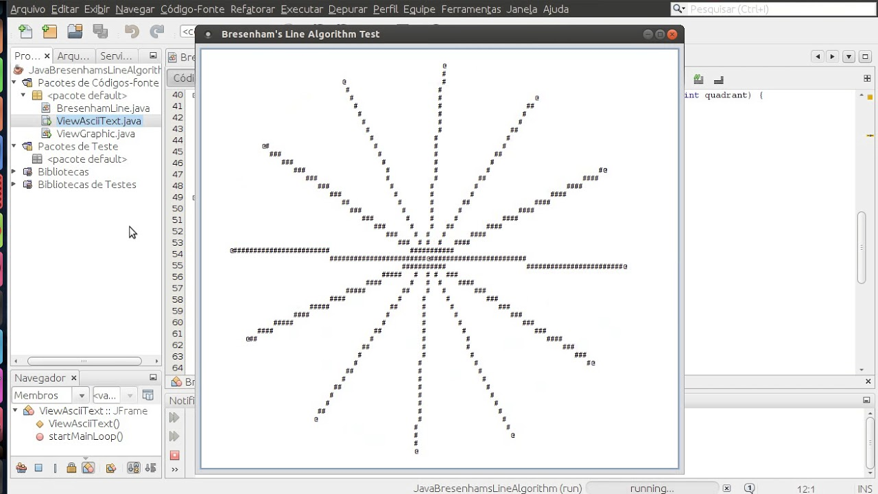 Line Drawing Algorithm Java : Java ascii text from scratch jtextarea bresenham s line