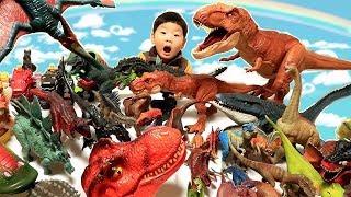 쥬라기월드 섬에 입성?? 공룡 멀티팩 장난감 화산폭발 슬라임  모래놀이 인도랩터 인도미누스렉스 티라노사우루스 트리케라톱스 100개 공룡 공개