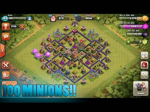 Clash Of Clans | 100 Minions and 400000+ Gold