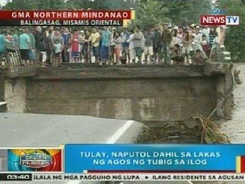 BP: Tulay sa Balingasag, Misamis Oriental, naputol dahil sa lakas ng agos ng tubig sa ilog