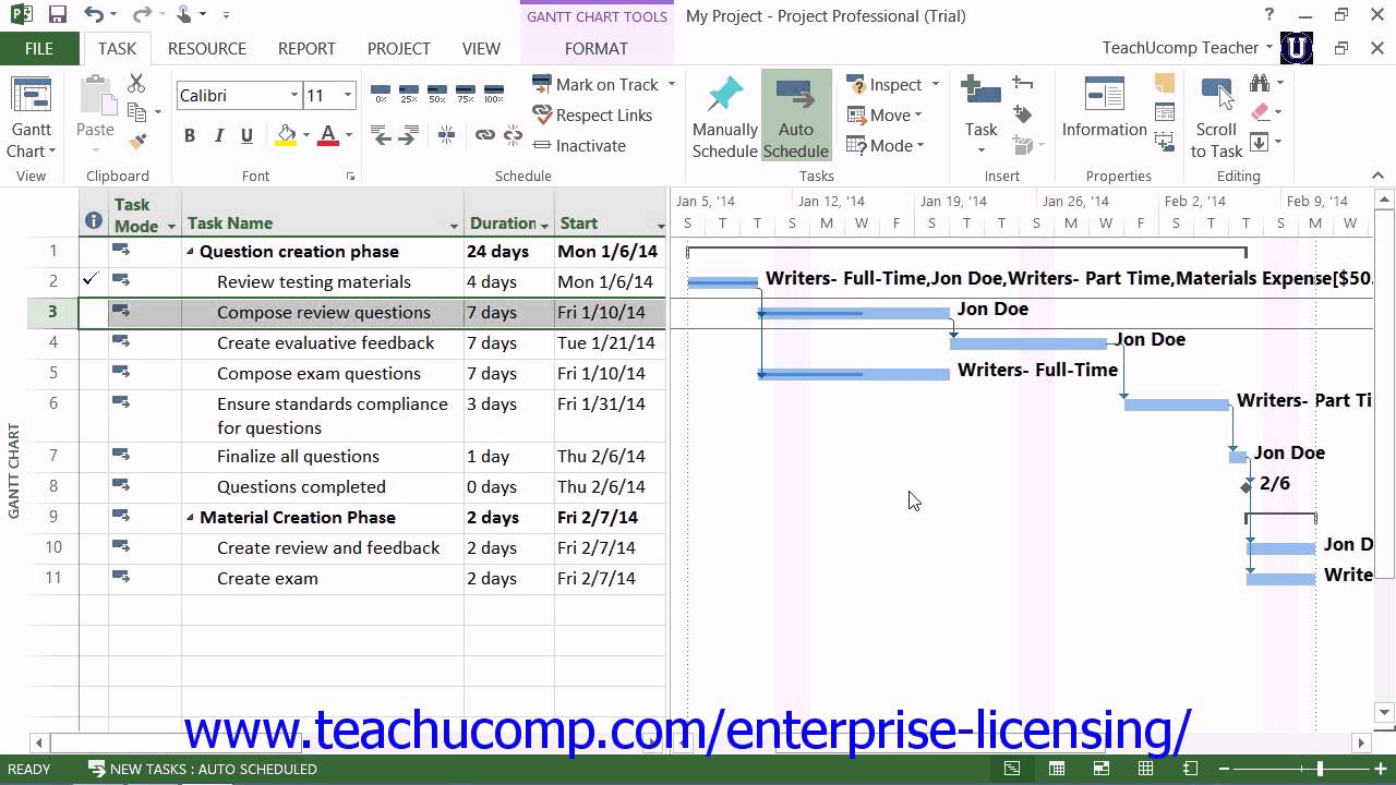 microsoft office project tutorial 2013 tracking project tasks lesson