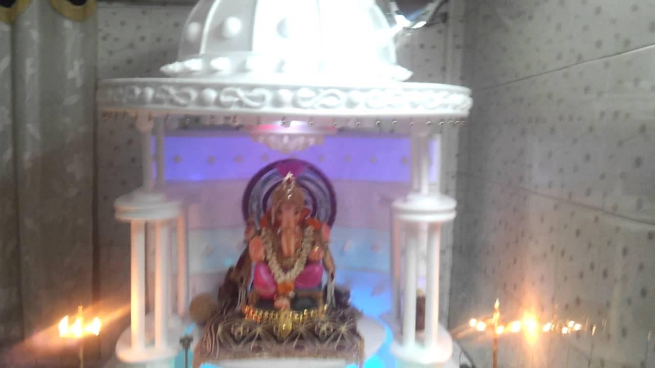 Wall Decoration Ideas For Ganpati : Ganesh festival home made decoration at