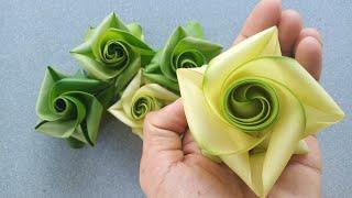 Hướng dẫn làm hoa hồng bằng lá dừa đơn giản đẹp (c3) #TOITNT