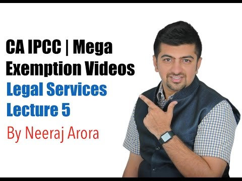 CA IPCC Tax Video Lectures | Indirect taxes | Service Tax | Mega Exemption Lecture 5 Legal Services