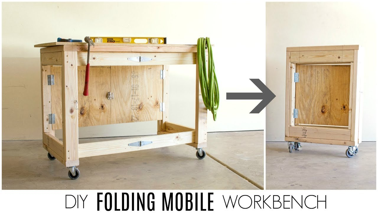 Diy Workbench With Wheels Diy Folding Mobile Workbench