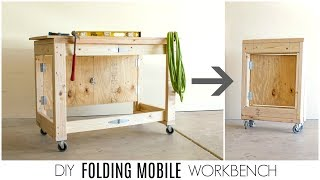 Small work space? No problem! Learn how to make a simple, folding mobile workbench from inexpensive materials found at any
