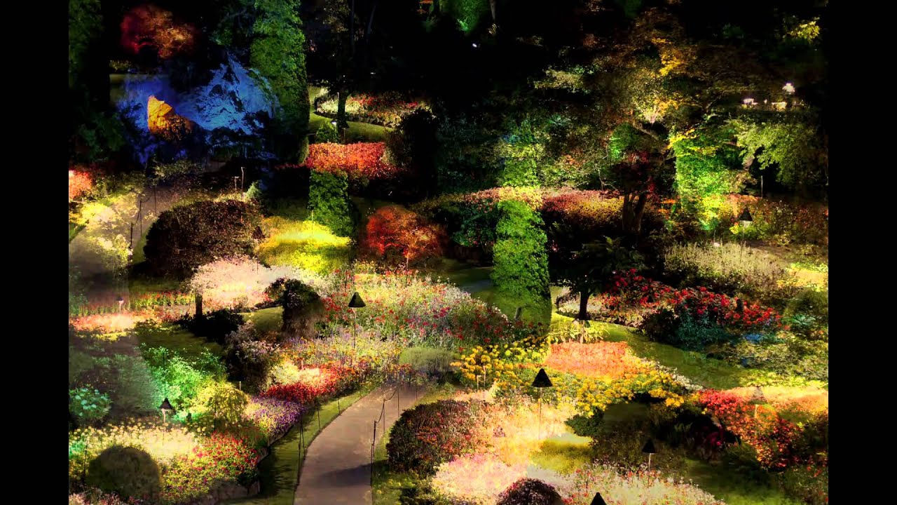 Images Of Beautiful Gardens Butchart Gardens In Victoria At Night Youtube