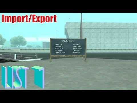GTA San Andreas - Import/Export (List 1)