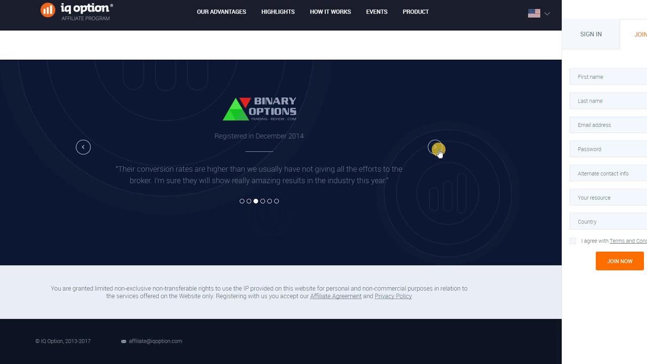 binary options affiliate program software
