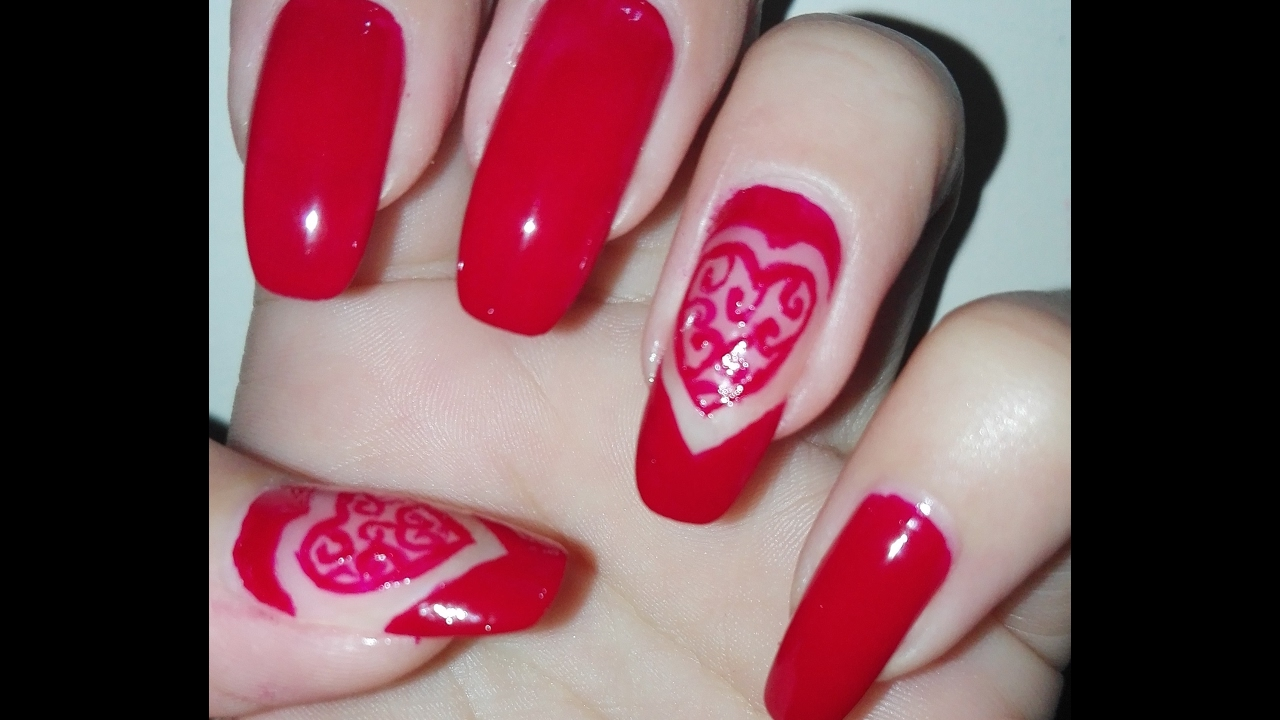 Elegant Valentine\'s Day Nail Art Tutorial using only one Nail Polish ...