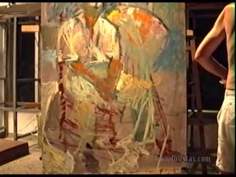 Kostas Loustas is painting Miltos Papanikolaou