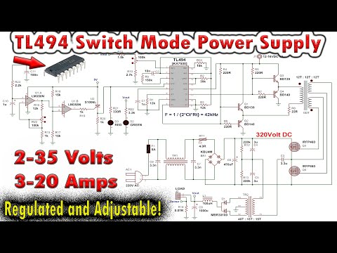 TL494 Variable Switch Mode Power Supply 0-35V 0-20Amps - YouTube