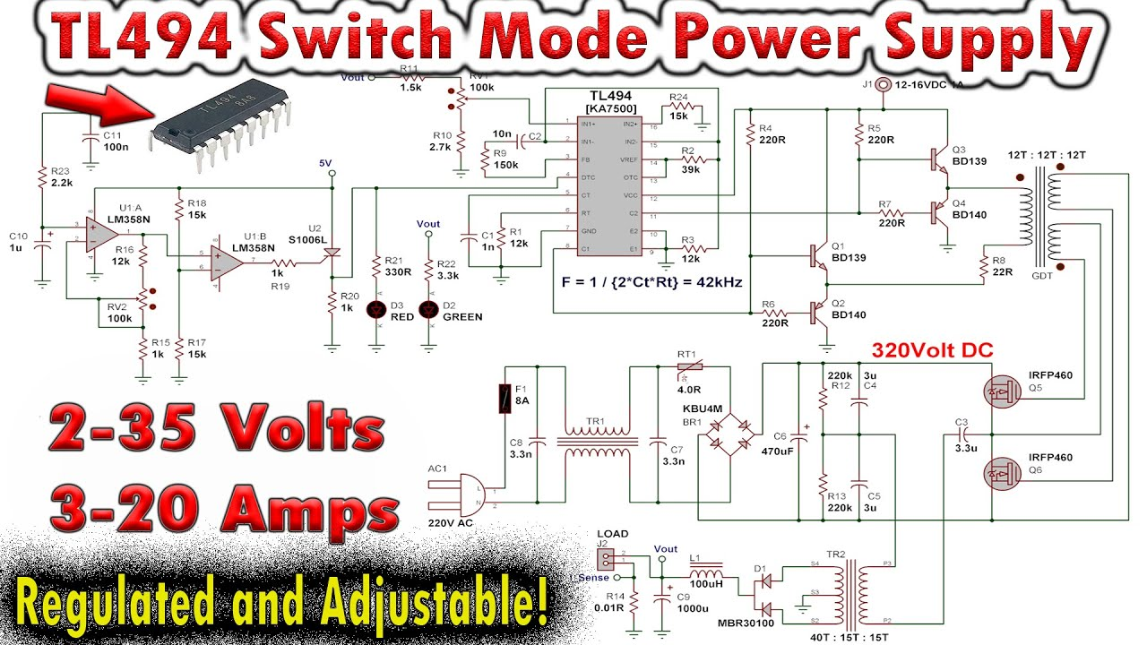 TL494 Variable Switch Mode Power Supply 0-35V 0-20Amps on circuit breaker schematic, voltage regulator schematic, buck converter schematic,