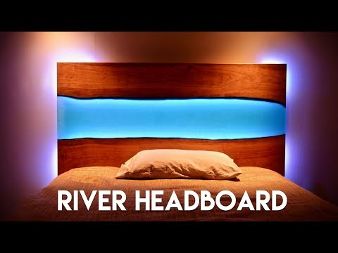 Live Edge Epoxy River Headboard with LED Lights // How To Build - Woodworking
