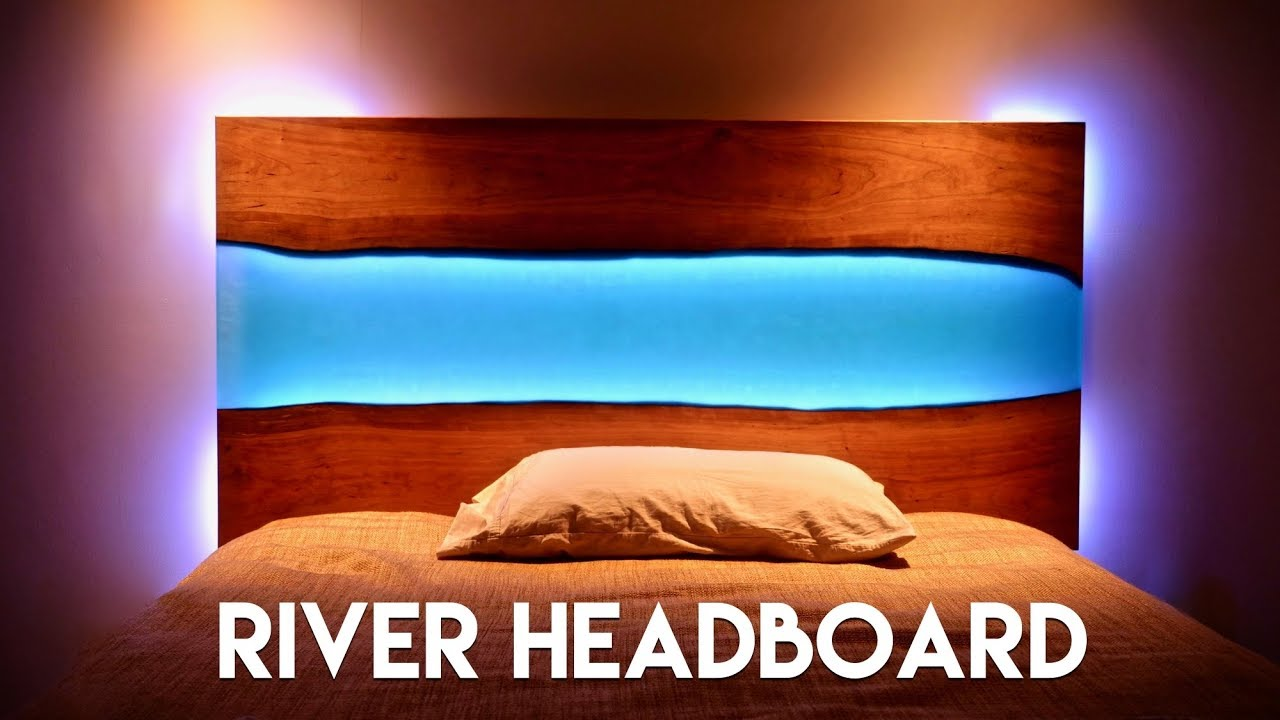 online store 50880 7eac4 Live Edge Epoxy River Headboard (or Table) with LED Lights // How To Build  - Woodworking