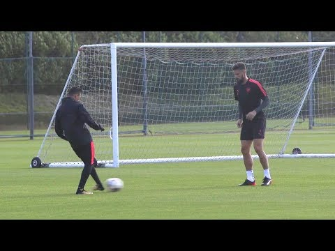 Arsenal players train ahead of opening europa league fixture against cologne