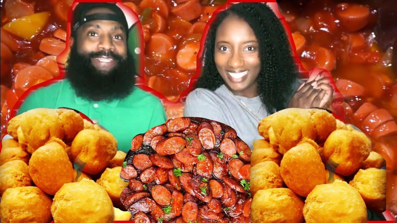 Download $5 OR LESS MUKBANG MEAL | STEW SAUSAGE + FRIED DUMPLINGS | JAMAICAN STYLE | # 2 RECIPE