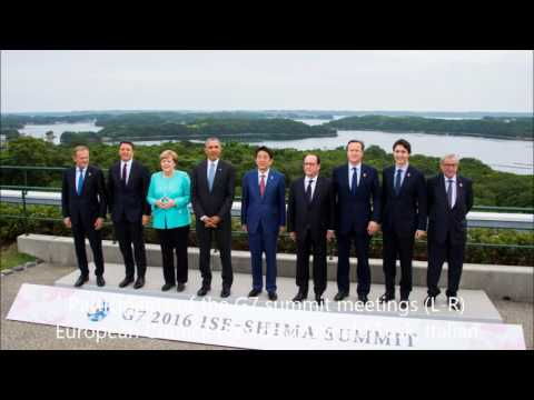 G7 Angela Merkel, Barack Obama, Shinzo Abe participate in a tr
