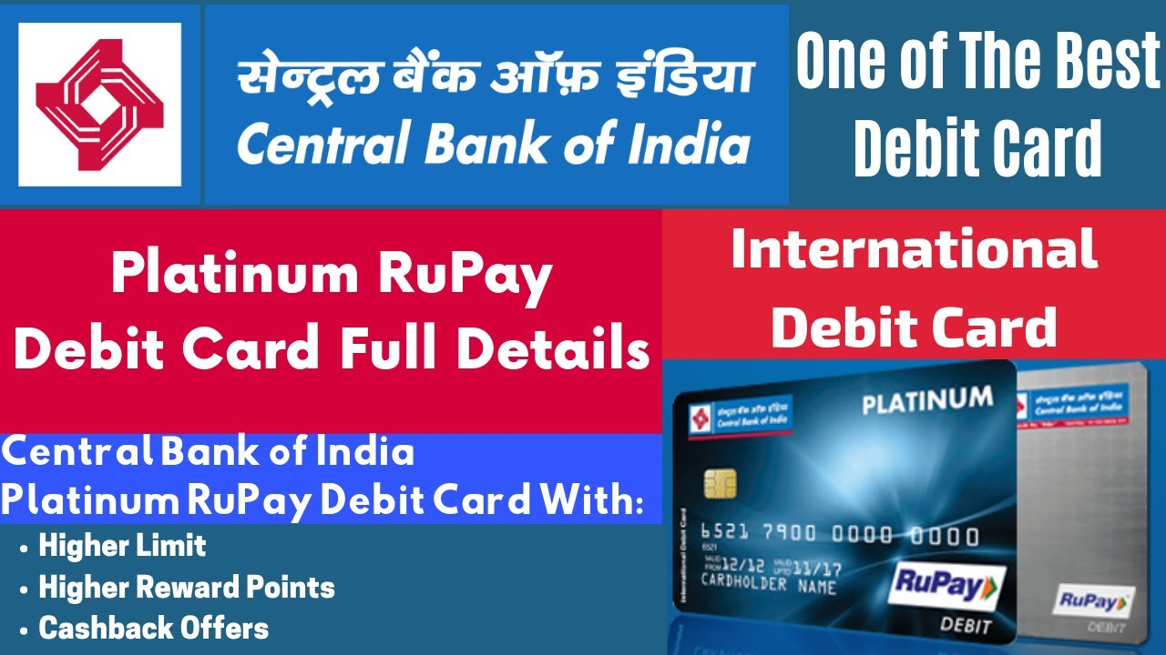 central bank of india rupay platinum debit card charges