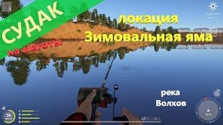 Русская рыбалка 4   река Волхов   Судак на зимовальной яме