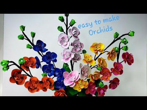 Handmade Orchid flowers || Orchid Flower Tree || सुंदरऑर्किड फूल || Learn how to make orchid flowers