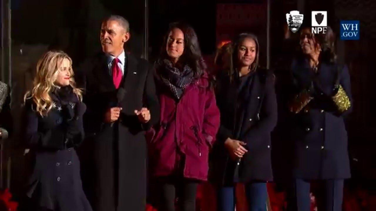 Obama Lights National Christmas Tree 2015 - YouTube