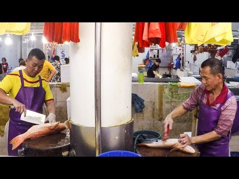 Fast Fish Cleaning and Cutting. Singapore Street Food in Tiong Bahru Wet Market