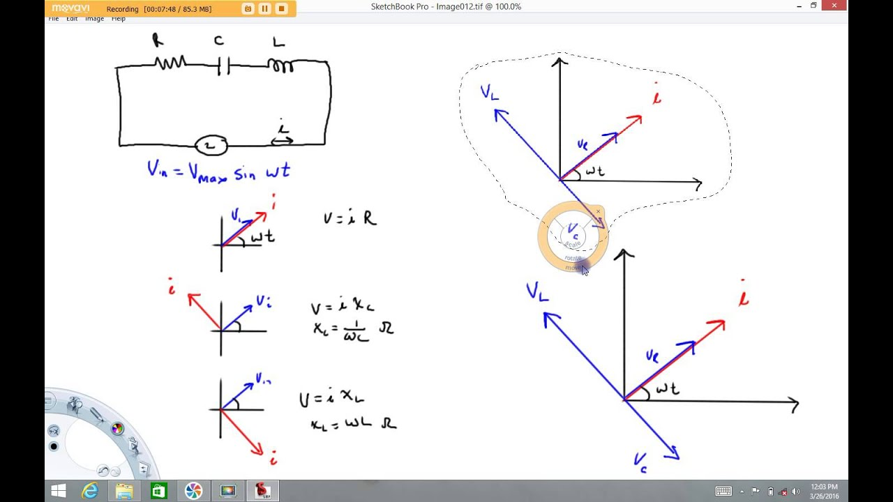 Phasor diagram for LRC circuit - YouTube