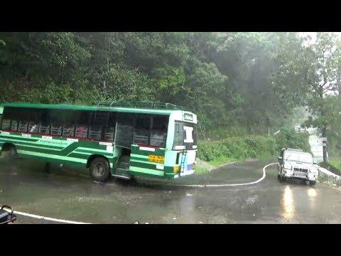 Valparai Hills Govt Bus & Car & Omni Crossing 30th Hairpin Bend Hills Road Pollachi TN