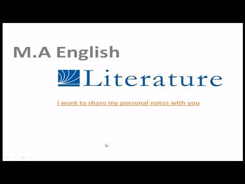 M A  English literature notes