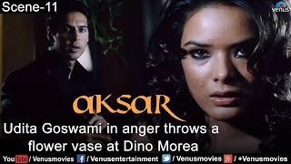 Udita Goswami in anger throws a flower vase at Dino Morea (Aksar)