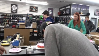 Eric and Tina Oakley pull orders at Dynamic Discs Emporia