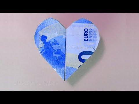 Geldscheine Falten Herz ❤ Einfaches Herz Aus Geld Falten Für Geldgeschenke - Origami Herzen