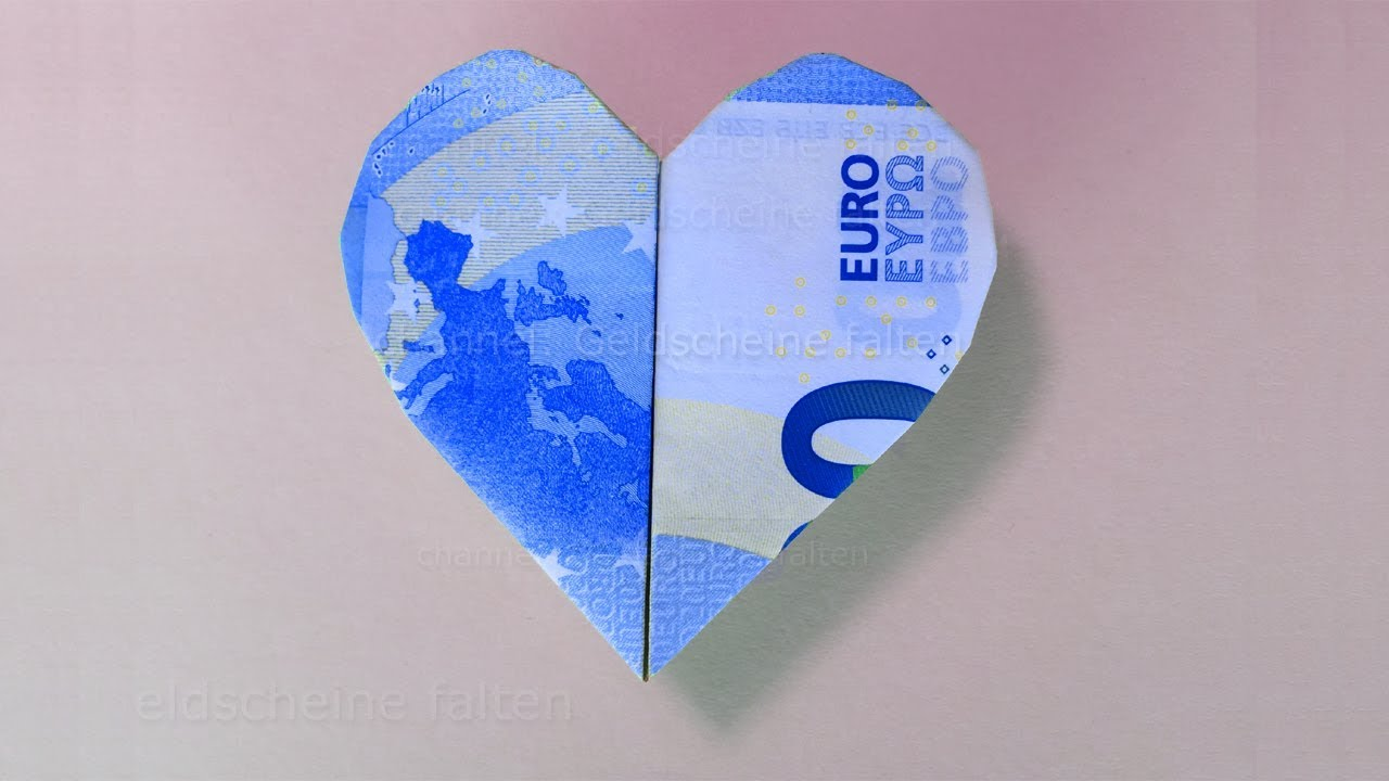 Scheine Rund Falten Money Folding Heart How To Fold A Heart With Money