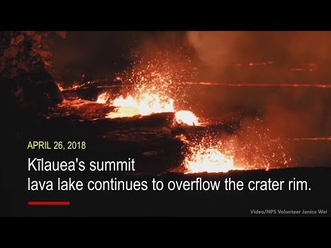Overflowing Lava Lake Recorded From Above Kilauea (Apr. 26, 2018)