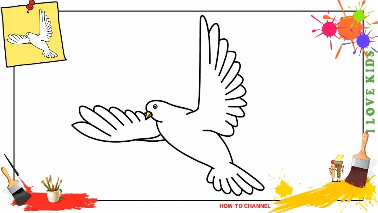 how to draw a dove flying easy slowly step by step for kids beginners