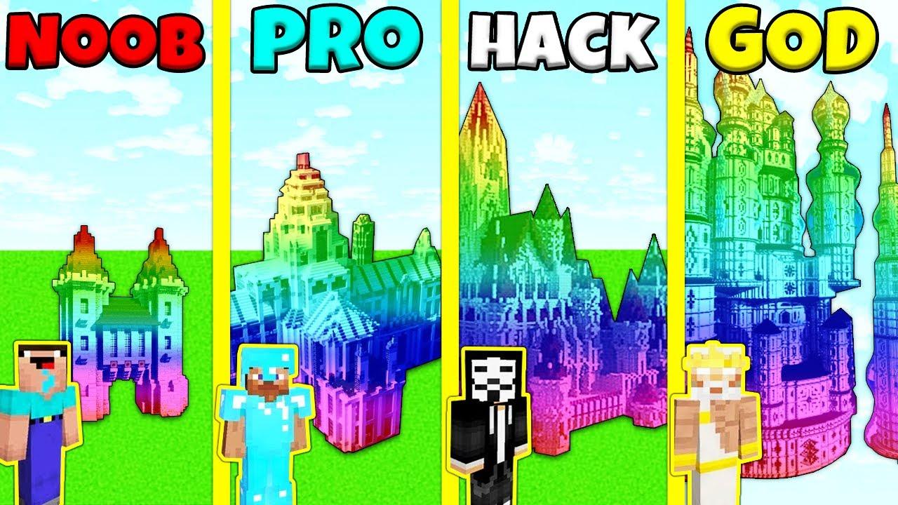 Minecraft Battle: RAINBOW CASTLE BUILD CHALLENGE - NOOB vs PRO vs GOD / Animation