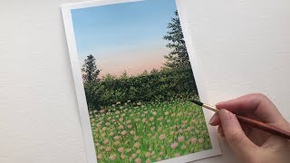 Gouache Real Time Tutorial   How to Paint a Field of Pink Flowers
