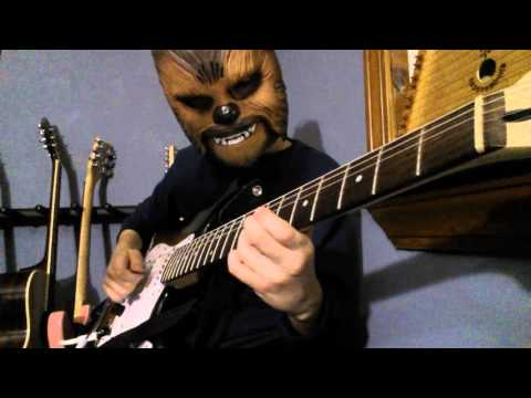 Chewbacca plays star wars on guitar