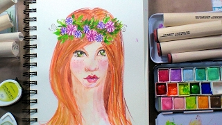 Flower Girls: How to make Art Journal Faces with Peg Stamps & Mixed Media