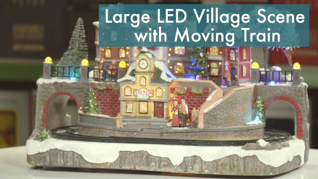Large Village Scene Christmas Decoration With Led Lighting And Moving Train Robert Dyas