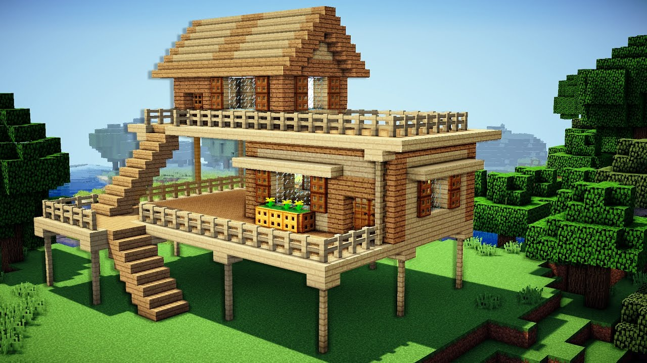Building A House minecraft: starter house tutorial - how to build a house in