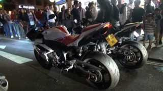 SUPERBIKES and FERRARI GO NUTS IN CENTRAL LONDON NIGHTIME!!