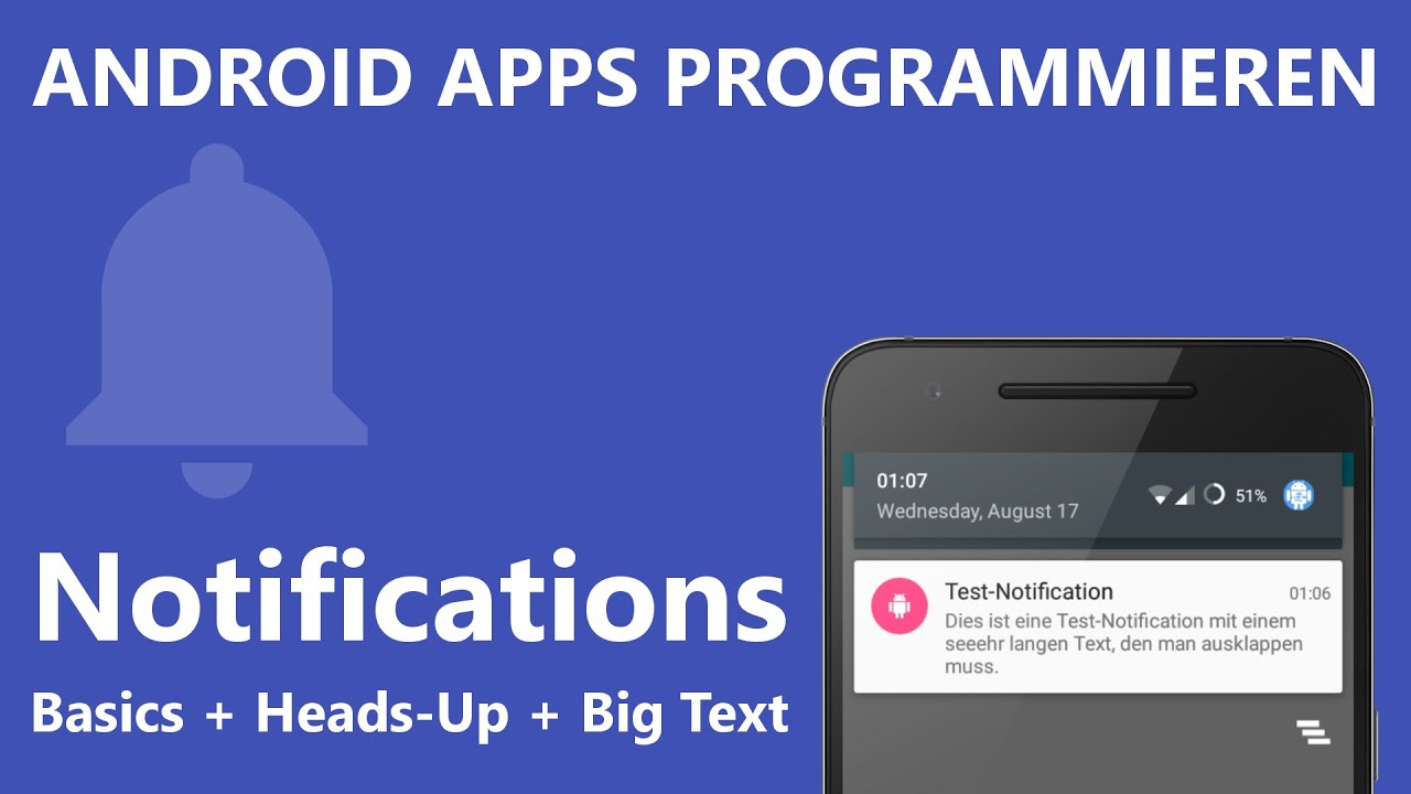 heads up notifications mit erweitertem text android apps programmieren deutsch german