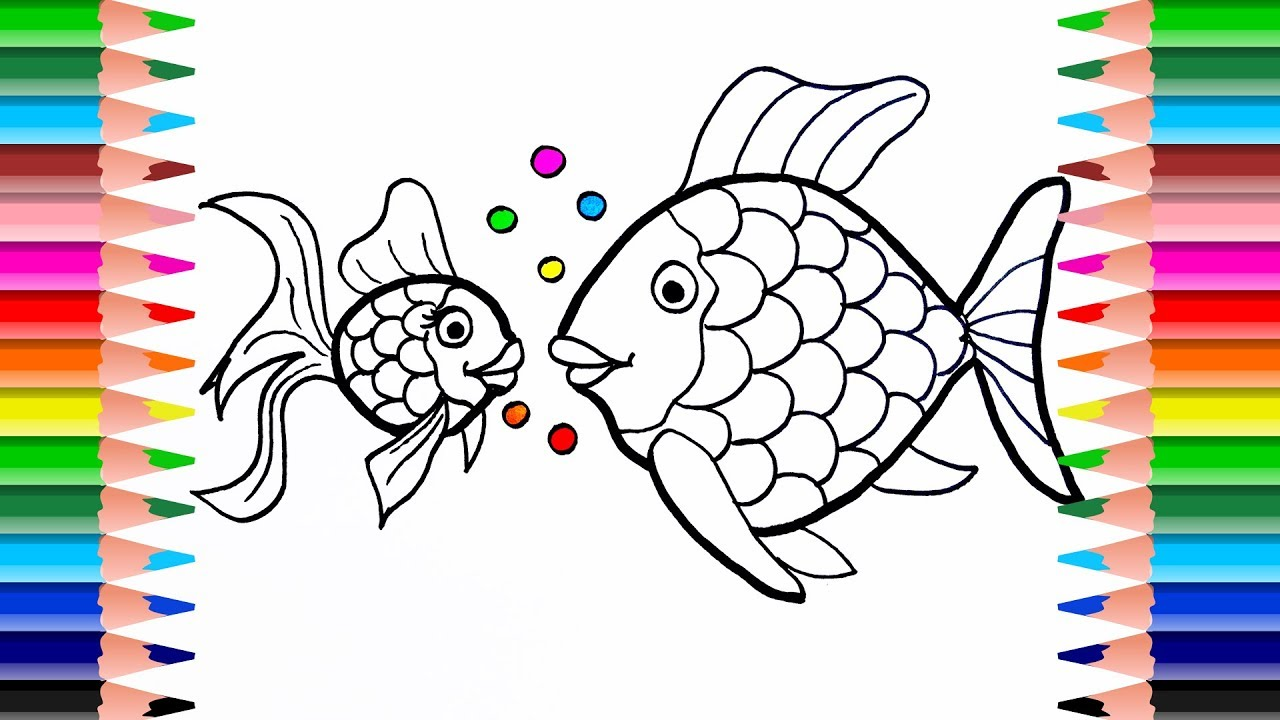 fish coloring pages  how to draw fish small fish big